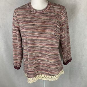 Hannah Petite sweater with lace hem size petite M